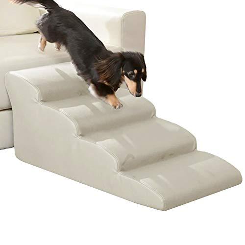 Escalera de Mascota Extra Ancho Rampa para Perros para Cama Alta Y Sofá Alto, 4 Escalones para Mascotas, Escaleras para Gatos Grandes, Perros, 35 D, Acolchado con Esponja, Carga De 200 Libras