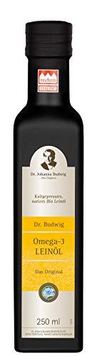 Dr. Budwig Omega-3 Leinöl - Das Original - 100{52ac45248241f715ccb66eb1b937afc26c67ef69183c17a733e0f24ac24f672e} naturbelassenes Bio Leinöl, kaltgepresst und ungefiltert, mit einem frischen Aroma, 250 ml