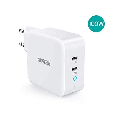CHOETECH Cargador PD 100W, [GaN Tech] Cargador Rápido USB C con 2-Puerto Power Delivery para MacBook Pro, Makbook Air, iPad Pro, iPhone 11/11Pro/SE 2020, Samsung, Huawei, Lenevo Thinkpad