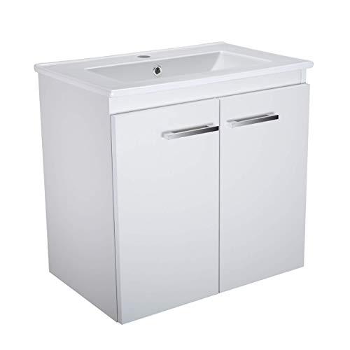 Waschbecken mit Unterschrank Bilbao 60cm Breit Waschplatz Schöner Badchrank mit Waschbecken Badmöbel Waschtischunterschrank (Weiß)