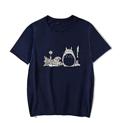 JYXSRZO My Neighbor Totoro Camiseta Kawaii Print Unisex Tops, azul marino, XXL