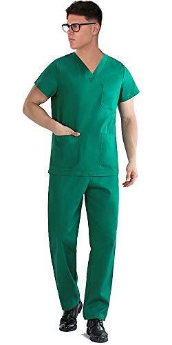 TCD Ricamo Gratuito Divisa Sanitaria Infermiere Casacca e Pantalone | Completo Medicale Unisex Uomo Donna | OSS Ospedale Estetista Veterinario Dentista | 100% Cotone (S, Verde CHIRURGIA Ricamo No)