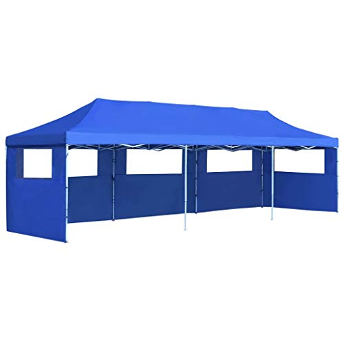 vidaXL Folding Pop-up Party Tent with 5 Sidewalls 3x9m Blue Canopy Gazebo