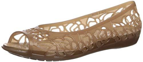 Crocs Women's Isabella Jelly Flat Ballet, Bronze/Gold, 4 M US