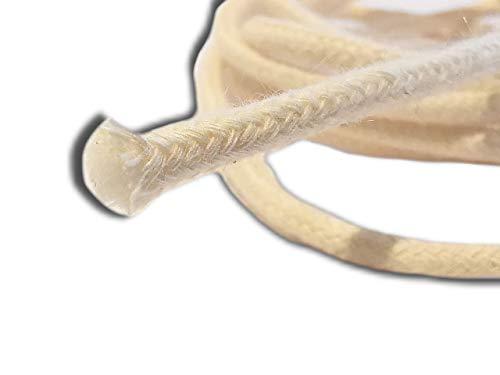 Der Perlenspieler® -Glasfaserdocht 3 mm/1 Meter-in Baumwollummantelung- Ersatzdocht für Schmelzfackeln Kerzenschmelzer Öllampe Schmelzlicht Kerzenfresser Kerzenresteverwerter-Indoor/Outdoor
