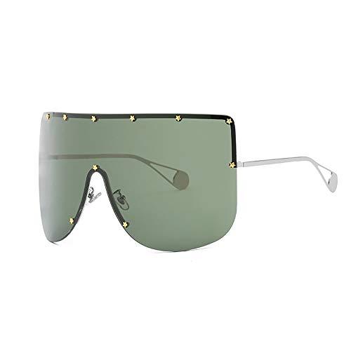 Gafas De Sol Para Caballeros Unisex One Piece Retro Sunglasses UV400 Protección para ciclismo Pesca Conducción 5 colores Mens Gafas De Sol Polarizadas ( Color : Silver/green , Size : Free size )