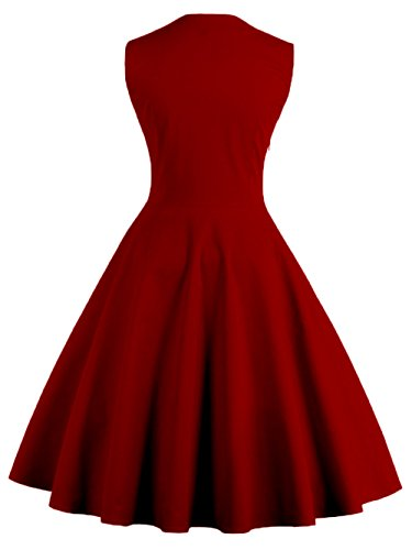 VKStar® Vintage 50er elegantes Abendkleid mit Knöpfe Rockabilly Swing Cocktailkleid Weinrot L - 2