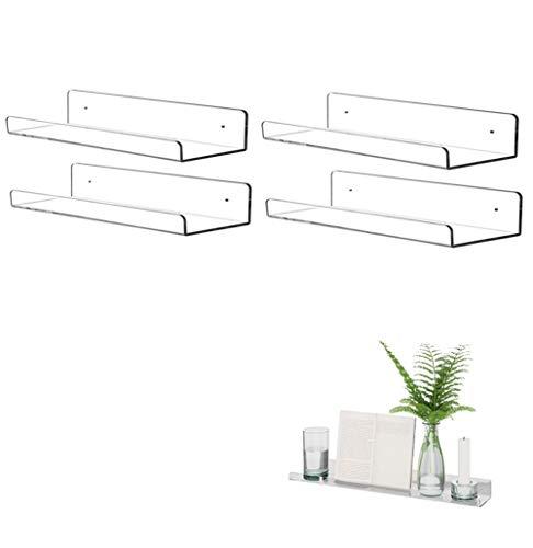 KITE-RUNNER Estantería flotante de pared, acrílico, flotante, montaje en pared, en forma de U, ideal para salón, dormitorio, pasillo, cuarto de baño (4 unidades, 30 cm)