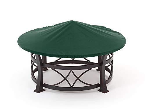 Covermates Round Firepit Top Cover - Light Weight Material, Weather Resistant, Elastic Hem, Fire Pit Covers-Green