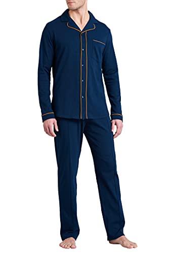 Schiesser Herren Pyjama Lang Pyjamaset, dunkelblau, 54
