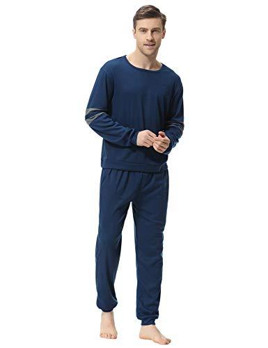 Aiboria Pijama Hombre Algodón Mangas Largas Set Suave Cómodo 2 Piezas Ropa de Dormir