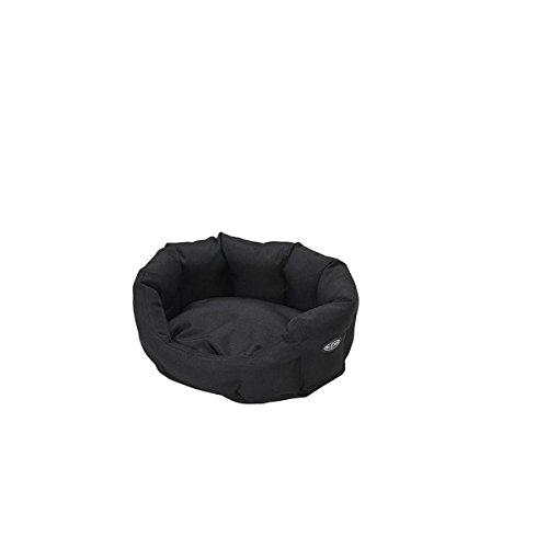 Buster hondenbed, cocon-design, 45 cm, staalgrijs/leer bruin paspeling, 75cm, zwart