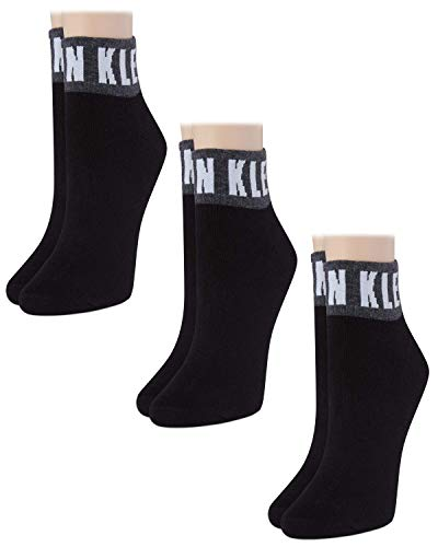 Calvin Klein Women's 3 Pack Cotton Logo Quarter Socks, black, Shoe Size: 6-9.5