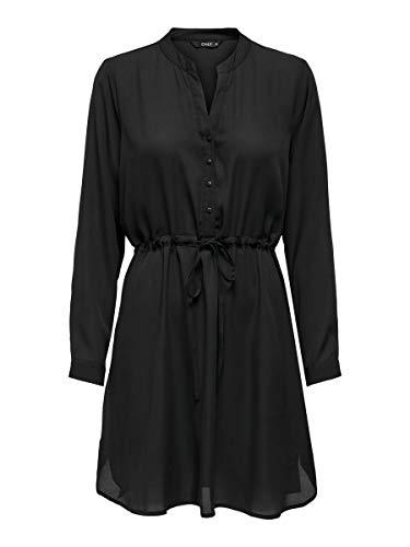 ONLY Damen Onlcory L/S V-neck Tunic Wvn Noos Kleid, Black/, L EU