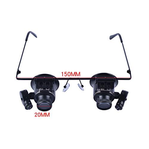 RobFFAW2019 dubbele bril, type 20 punten, met vergrootglas en licht, elektronische horloges voor het repareren van sieraden met HD-loep,