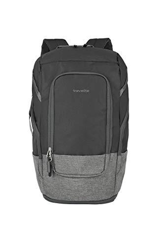 travelite großer Handgepäck Rucksack für Reise, Freizeit und Sport, Gepäck Serie BASICS Daypack: Kompakter travelite Rucksack, 096291-01, 48 cm, 30 Liter, schwarz/grau