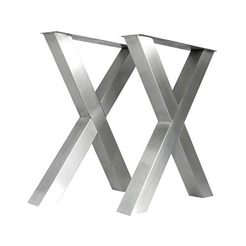 Giese Metalldesign X-Tischbeinset 8080 Edelstahl gebürstet Tischgestell Kufen Tischbein Tischkufen