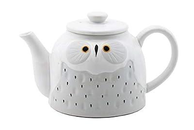 Fuji Merchandise Cute Novelty Owl Design Ceramic Teapot with Side Handle 52 fl oz Tea Pot Kettle (White)