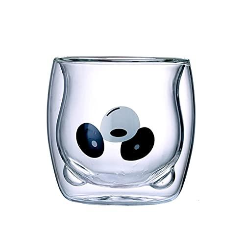 KTZAJO Taza de café creativa con diseño de oso doble pared, taza de cristal para jugo de leche de animales, para el día de San Valentín, color blanco
