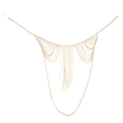 joyMerit Cadena de Metal Borla Bikini Camisola Decoración Joyería Halter Sujetador Cuerpo Cadena Mujeres - Oro