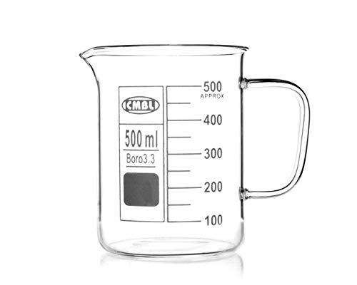 DS. DISTINCTIVE STYLE Chemistry Glass Beaker with Handle 500 Milliliters Lab Beaker Borosilicate Glass Measuring Cup for Laboratory
