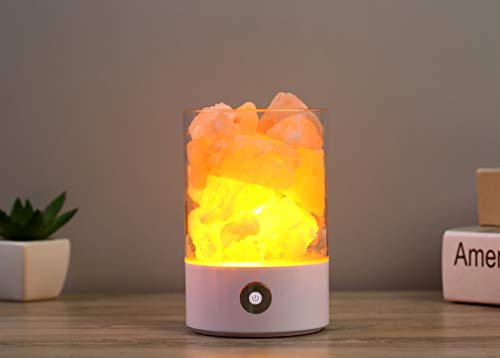 Crystal Zen Himalayan Salt Rock Lamp| with Dimmer Switch - Essential Mini Table Stone Lamp, Ambient Night Light with Aroma Therapy, Negative Ion Lamp - Decoration for Bedroom, Living Room – White