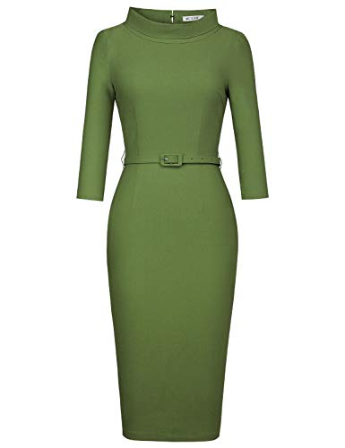 MUXXN Ladies Celebrity Fashion Empire Waist Vintage Mother of Bride Long Dress (Olive Green L)