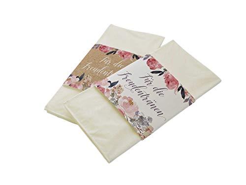 50 Stück Papierbanderolen Freudentränen Taschentücher Hochzeit Peony Kraftpapier-Look (Banderolen mit Klebepunkte)