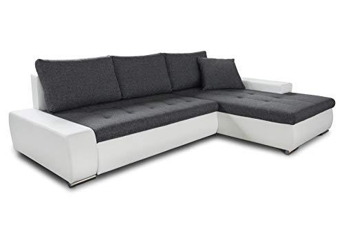 Ecksofa mit Schlaffunktion Faris - Couch mit Bettkasten, Big Sofa, Sofagarnitur, Couchgarniitur, Polsterecke, Bett (Weiß + Graphit (Madryt 120 + Inari 94), Ecksofa Rechts)