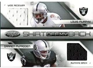 Louis Murphy And Darren McFadden Unsigned 2010 Certified Jersey Card - Football Game Used Cards