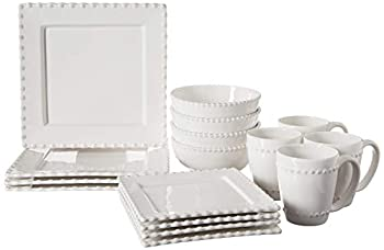 American Atelier Bianca Bead 16-Piece Ceramic Square Dinnerware Set -4 Dinner & 4 Salad Plates 4 Bowls 4 Mugs – Gift for Special Occasion Party or Birthday White