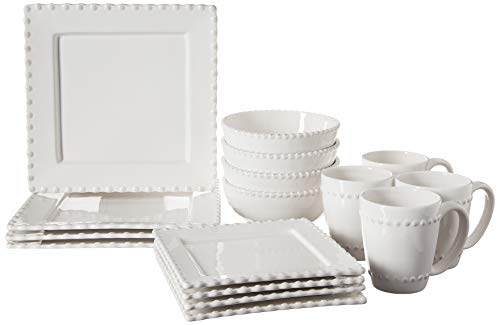 American Atelier Bianca Bead 16-Piece Ceramic Square Dinnerware Set -4 Dinner & 4 Salad Plates, 4 Bowls, 4 Mugs – Gift for Special Occasion, Party, or Birthday, White