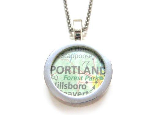 Portland Oregan Map Pendant Necklace