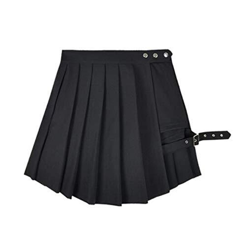 Feing Pleated Skirts Estate Donne Pantaloncini Gonne Gothic Punk Nero Rosso Verde Plaid Pieghe Gonne Vita Alta Gonne Corte Gonne - Nero - S