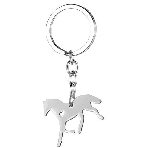 Pferd mit Herz Glücksbringer Schlüsselanhänger Metall silberfarben | Geschenk | Liebe | Frauen | Damen | Stute | Hengst | Bauernhof | Fohlen | stehend