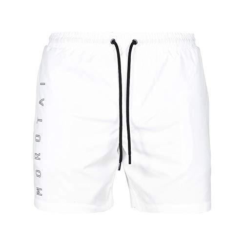 MOROTAI NKMR Block Print Swim Shorts Weiß L Bañadores Ajustados para Hombre, Blanco, Large