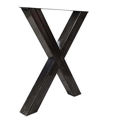 Table runners X-Shape made of square profiles 80 x 80 mm, X-shaped table frame metal steel look matt
