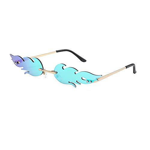 levliong Gafas de sol de fuego para mujeres y hombres, sin bordes, estilo punk