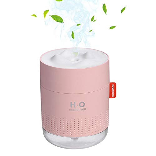 Portable Mini Humidifier, 500ml Small Cool Mist Humidifier with Night Light,USB Personal Desktop Humidifiers for Baby Bedroom Travel Office,2 Spray Modes, Ultra-Quiet , Auto Shut-Off, 3 Filters