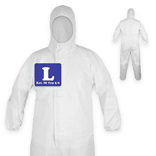 1x Schutzanzug mit Kapuze | Schutzkleidung | Medizinischer Overall nach EN14126 | Kategorie III Typ 5/6 | Einweg Overall, Einmal Overall weiß | Unisex Größe L