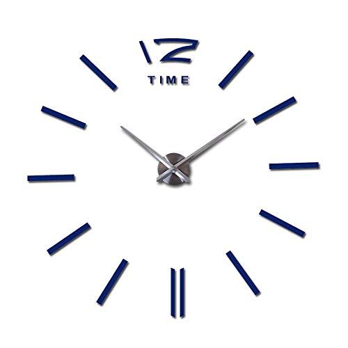 XXYHYQHJD Ampliación de la Pared Decorativos Relojes de Bricolaje Home Decor Relojes Sala Mural de la Etiqueta Reloj de Pared Vintage (Color : Deep Blue, Sheet Size : 47inch)