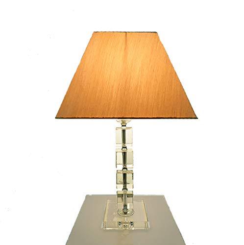 Dapo Tischleuchte mit LED Leuchtmittel, Lampe mit Kristallfuß und Seiden - Stoffschirm, Kristallleuchte Tischlampe (klar-Gold, Arte 53 cm)