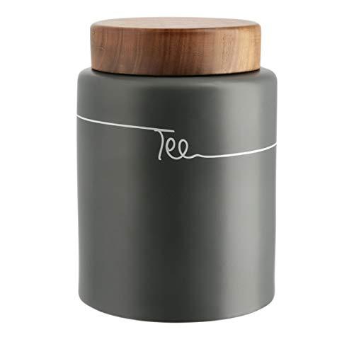 KHG Teedose Teebox Vorratsdose luftdicht Keramik grau anthrazit mit Holz-Deckel Dosenaufdruck Tee
