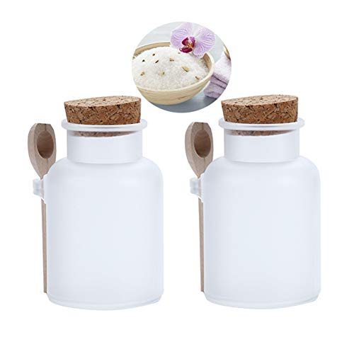 2Pcs 300g/10oz Frosted ABS Empty Bath Salts Jars with Cork and Spoon Multipurpose Mask Powder Body Butter Storage Canisters Cans Pots Tins Bottles Containers Crocks for Cosmetic Storage
