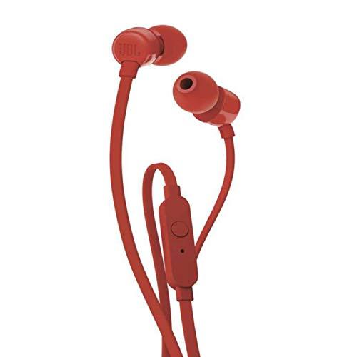 JBL JBLT110RED in-ear hoofdtelefoon met besturing en microfoon rood