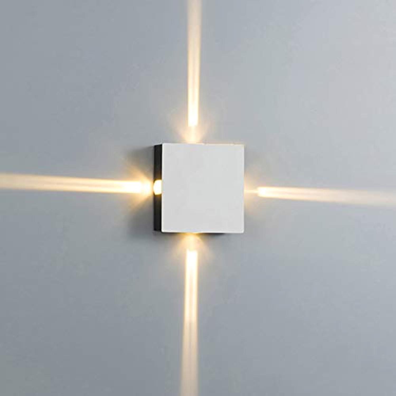 LED Auenwandleuchten 12W Wandleuchte innen Im Freien Wandlampe Wasserdicht 4- Flammig modern Quadratische Form Wei Schatten aus Alu Dekorative Beleuchtung 3000K (Vier LEDs)