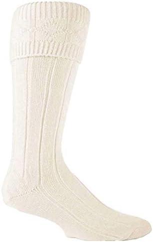 Traditional Scottish Highland Wear Kilt Wedding Hogmanay Socks Hose- Cream (Cream, Large 9-13)