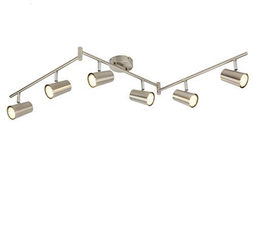 SEESEER LED Deckenleuchte Spotbalken Drehbar, 6-Flammig LED Strahler Deckenlampe Spot,3W GU10 230V IP20 Metall Warmweiß LED Deckenstrahler, Modern Deckenspots für Küche, Wohnzimmer, Schlafzimmer
