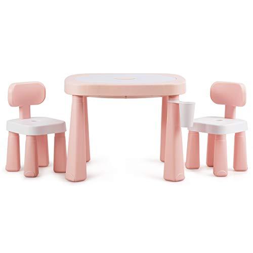 COSTWAY Kinderspieltisch- und Stuhlset, multifunktionaler Smarter Tischset, Babytisch mit Bausteinen, Kindersitzgruppe AR-Technologie, Kindermöbel ideal für Kinderzimmer und Kindergarten (Rosa)