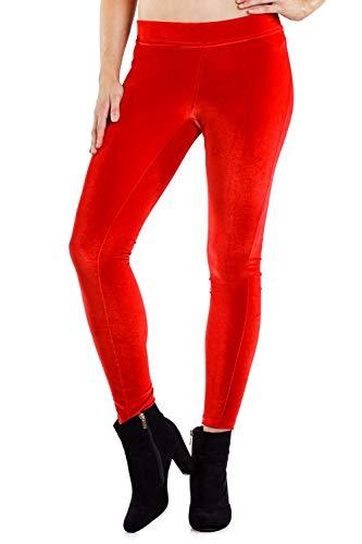 Tipsy Elves Women's Red Velvet Leggings - Christmas Velvet Leggings: S